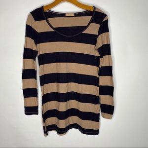 CP Shades   Tan Striped Jessica Long Sleeve Shirt